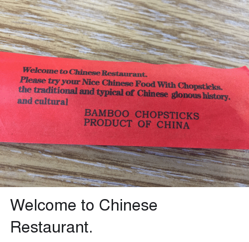 Please Try Your Nice Chinese Food With Chopsticks