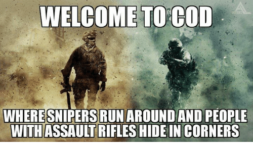 Assault Rifles: WELCOME TO COD  WHERESNIPERSIRUNAROUNDAND PEOPLE  WITH ASSAULT RIFLES HIDEIN CORNERS