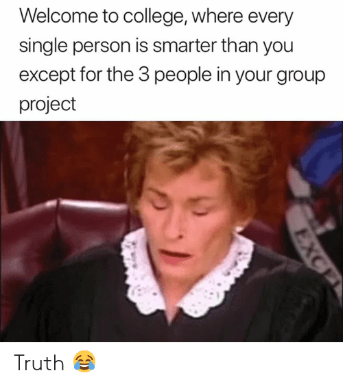 Group Project: Welcome to college, where every  single person is smarter than you  except for the 3 people in your group  project Truth 😂