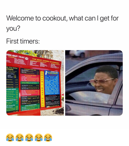 ips: Welcome to cookout, what canl get for  you?  First timers:  OIC OUT  pokouF TRAY  4.99  .  THE BEST COMBO IN DURHAM  de Char-Grilled  URGERS  CHOPPED PORK 800  COOK OUT  REAMERY  HOT DOQS  Reguler 2.79  Big Double 2.99  stard&Onion  Pickles & Onion  ce·Tomato & Mayo  HICKEN BREAST  Hot Dog  Com Dog  KEN BREAST Fllet  3.70  IPS  3.30 😂😂😂😂😂