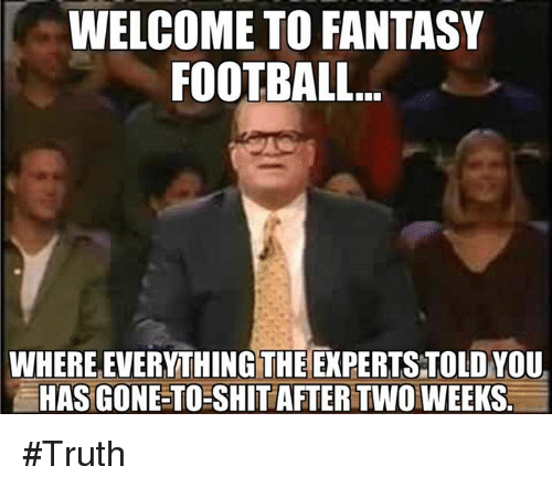 Fantasy Football, Football, and Nfl: WELCOME TO FANTASY  FOOTBALL.  WHERE EVERYTHING THE EXPERTS TOLD YOU  HAS GONE-TO SHIT AFTER TWOWEEKS. #Truth