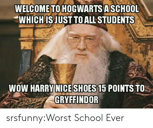 Gryffindor: WELCOME TO HOGWARTS ASCHOOL  WHICH IS JUST TO ALL STUDENTS  WOW HARRY NICESHOES 15 POINTS TO  GRYFFINDOR srsfunny:Worst School Ever