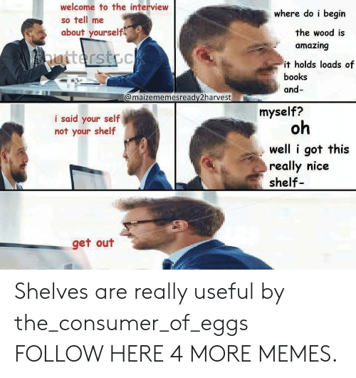 Consumer: welcome to the interview  so tell me  about yourself  where do i begin  the wood is  amazing  it holds loads of  books  and-  @maizememesready2harvest  myself?  i said your self  not your shelf  oh  well i got this  really nice  shelf  get out Shelves are really useful by the_consumer_of_eggs FOLLOW HERE 4 MORE MEMES.