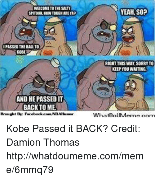 Damion: WELCOME TO THESAITY  IPASSED THE BALTO  AND HE PASSED IT  BACK TO MEL  Brought By:  Facebook.comMNBAHuamor  YEAH, SOP  RIGHT THIS WAY SORRYTO  KEEP YOU WAITING  Wha DoUMeme.com Kobe Passed it BACK? Credit: Damion Thomas  http://whatdoumeme.com/meme/6mmq79