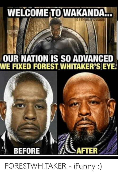 Forest Whitakers Eye: WELCOME TO WAKANDA...  IG I THEBLEROVISION  OUR NATION IS SO ADVANCED  WE FIXED FOREST WHITAKER'S EYE  AFTER  BEFORE FORESTWHITAKER - iFunny :)