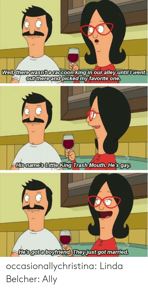 Hes Gay: Weli there wasnta raccoon king in our alley untill went  ut thereand picked my favorite one.  His name's Little King Trash Mouth. He's gay  He's got a boytriends They just got married  gota  They occasionallychristina:  Linda Belcher: Ally