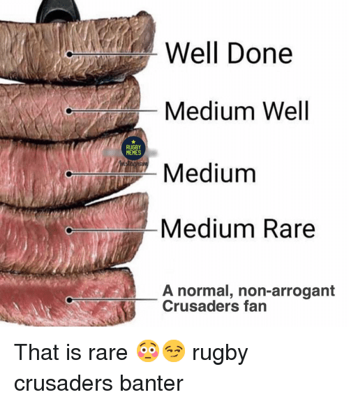 crusaders: Well Done  Medium Well  Medium  Medium Rare  RUGBY  MEMES  A normal, non-arrogant  Crusaders fan That is rare 😳😏 rugby crusaders banter