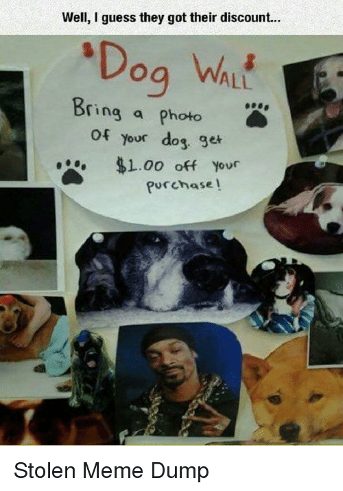 Stolen Meme: Well, I guess they got their discount...  ALL  ring a photo  of  your dog ge  . $1.00 off your  Purchase l Stolen Meme Dump