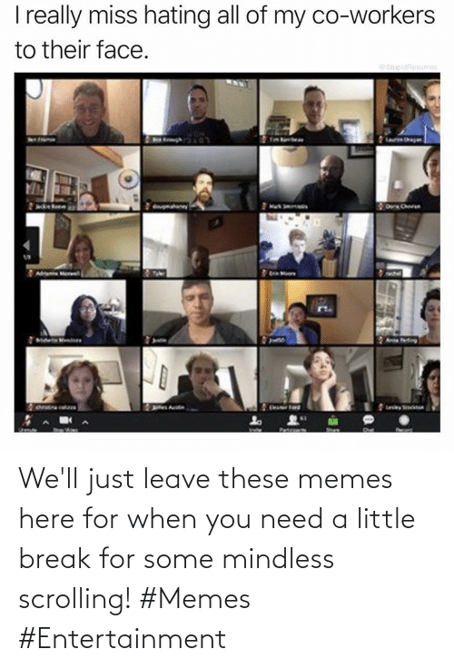 Leave: We'll just leave these memes here for when you need a little break for some mindless scrolling! #Memes #Entertainment