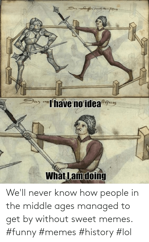middle ages: We'll never know how people in the middle ages managed to get by without sweet memes. #funny #memes #history #lol