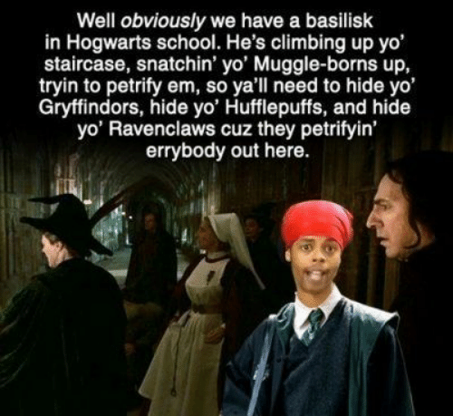 borns: Well obviously we have a basilisk  in Hogwarts school. He's climbing up yo'  staircase, snatchin' yo' Muggle-borns up,  tryin to petrify em, so yall need to hide yo'  Gryffindors, hide yo' Hufflepuffs, and hide  yo' Ravenclaws cuz they petrifyin'  errybody out here.