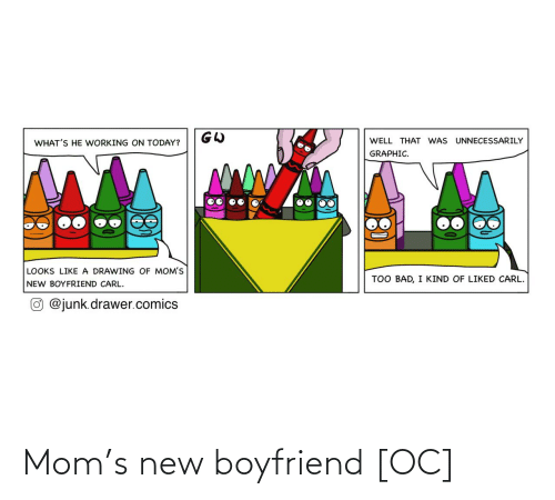 carl: WELL THAT WAS UNNECESSARILY  WHAT'S HE WORKING ON TODAY?  GRAPHIC.  LOOKS LIKE A DRAWING OF MOM'S  TOO BAD, I KIND OF LIKED CARL.  NEW BOYFRIEND CARL.  O @junk.drawer.comics Mom's new boyfriend [OC]