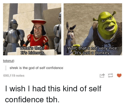 hideous: Well, that's not very nice:  It'S 1ust a donkey.  Its hideous  totonut  shrek is the god of self confidence  690,119 notes I wish I had this kind of self confidence tbh.