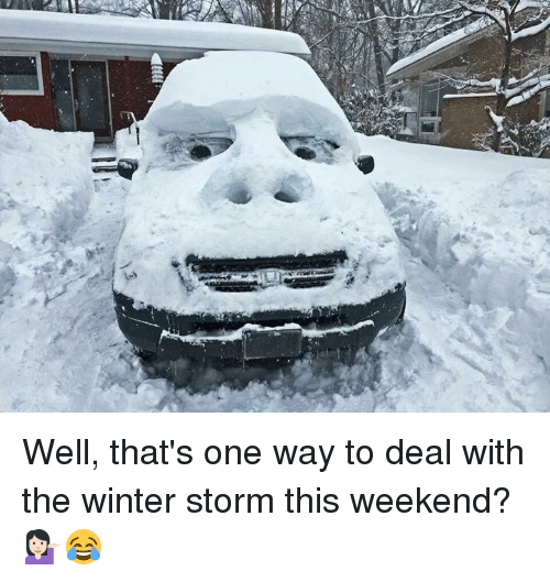 winter storm: Well, that's one way to deal with the winter storm this weekend? 💁🏻😂