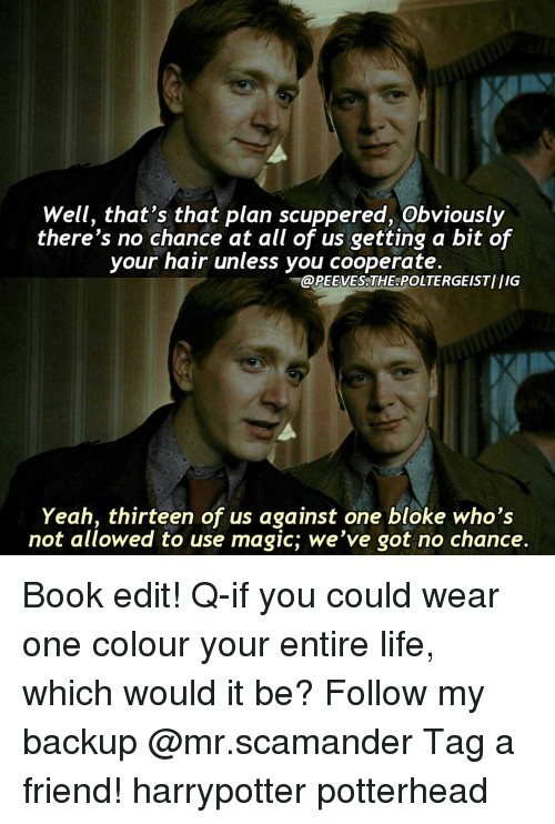 Memes, Magic, and 🤖: Well, that's that plan scuppered, Obviously  there's no chance at all of us getting a bit of  your hair unless you cooperate  @PEEVESDTHEOPOLTERGEISTIIIG  Yeah, thirteen of us against one bloke who's  not allowed to use magic, we've got no chance Book edit! Q-if you could wear one colour your entire life, which would it be? Follow my backup @mr.scamander Tag a friend! harrypotter potterhead