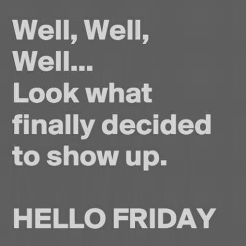 Hello Friday: Well, Well,  Well...  Look what  finally decided  to show up.  HELLO FRIDAY
