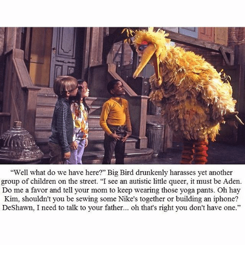 """Moms: """"Well what do we have here?"""" Big Bird drunkenly harasses yet another  group of children on the street. """"I see an autistic little queer, it must be Aden  Do me a favor and tell your mom to keep wearing those yoga pants. Oh hay  Kim, shouldn't you be sewing some Nike's together or building an iphone?  DeShawn, I need to talk to your father  oh that's right you don't have one"""