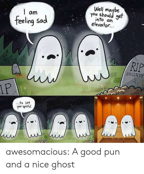 spirits: Well  you shoule  get  am  into an  elevator...  feeling Sad  RIP  RIP  SOCIETY  IP  to lift  your spirits! awesomacious:  A good pun and a nice ghost