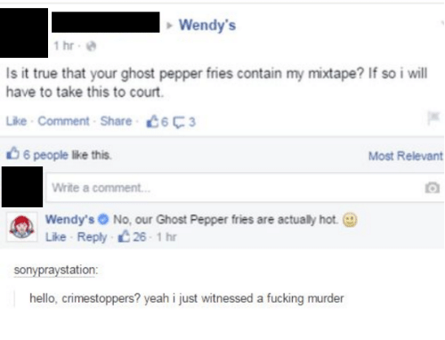 Dank, Hello, and Mixtapes: Wendy's  1 hr  Is it true that your ghost pepper fries contain my mixtape? If so i will  have to take this to court.  Like Comment Share C6F3  6 people lke this.  Most Relevant  Write a comment...  Wendy's No, our Ghost Pepper fries are actualy hot.  Like Reply 26 1 hr  sony raystation  hello, crimestoppers? yeah i just witnessed a fucking murder