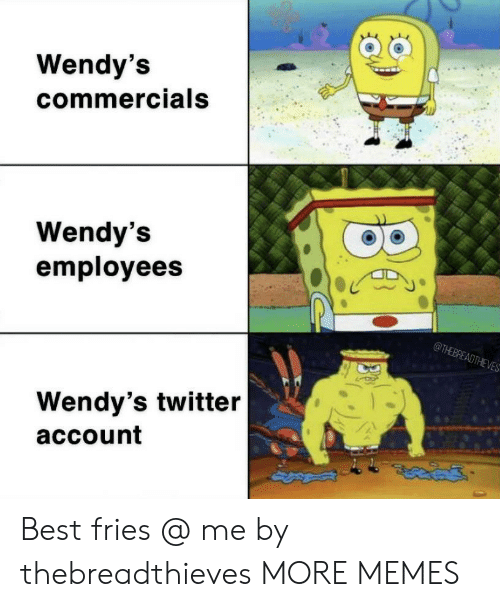 wendys: Wendy's  commercials  Wendy's  employees  @THEBREADTHEVES  Wendy's twitter  account Best fries @ me by thebreadthieves MORE MEMES