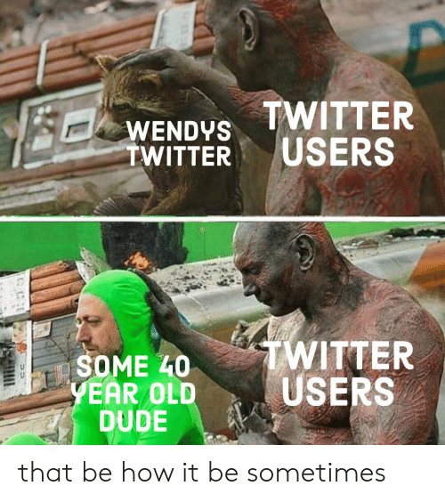 wendys: WENDYS TWITTER  TWITTER USERS  TWITTER  SOME L0  EAR OLDUSERS  DUDE that be how it be sometimes