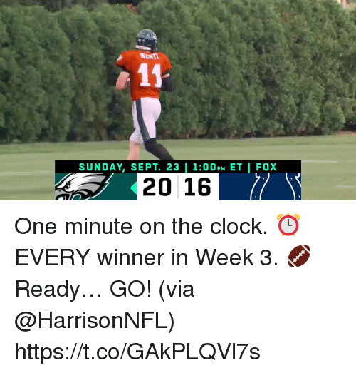 Clock, Memes, and Sunday: WENn  SUNDAY, SEPT. 23 | 1:00PM ET | FOX  2016 One minute on the clock. ⏰ EVERY winner in Week 3. 🏈  Ready… GO! (via @HarrisonNFL) https://t.co/GAkPLQVl7s