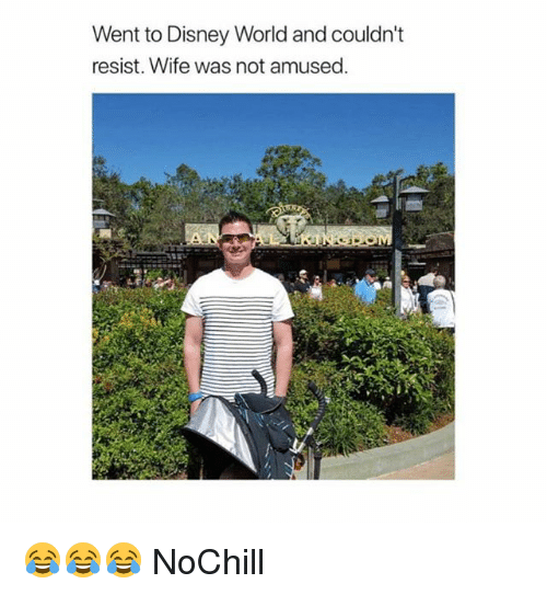 Not Amused: Went to Disney World and couldn't  resist. Wife was not amused 😂😂😂 NoChill