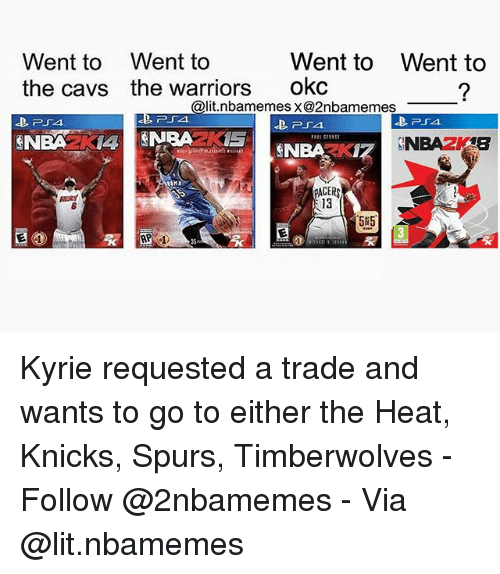 Pacer: Went to  the cavs  Went to  the warriors  Went to  okc  Went to  @lit.nbamemes x@2nbamemes  254  PACER  13  5#5.  35 Kyrie requested a trade and wants to go to either the Heat, Knicks, Spurs, Timberwolves - Follow @2nbamemes - Via @lit.nbamemes
