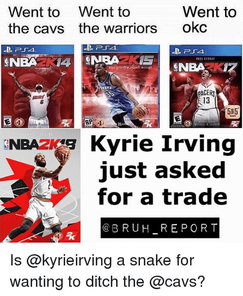 Bruh, Cavs, and Kyrie Irving: Went to Went to  the cavs the warriors  Went to  okc  NBAZKI  13  5#5  35m  NBA F Kyrie Irving  just asked  for a trade  @BRUH REPORT Is @kyrieirving a snake for wanting to ditch the @cavs?