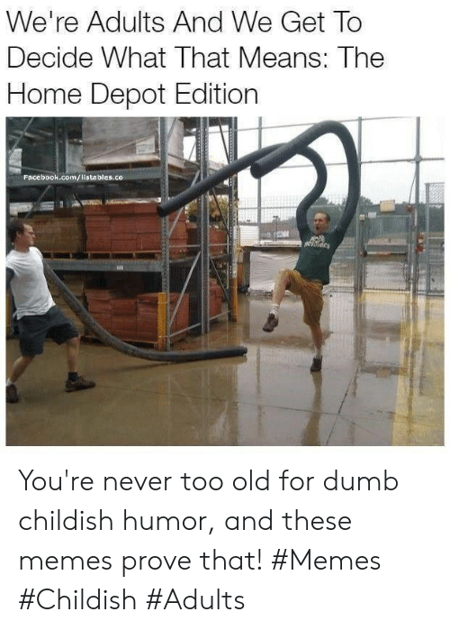 Childish: We're Adults And We Get To  Decide What That Means: The  Home Depot Edition  Facebook.com/listables.co You're never too old for dumb childish humor, and these memes prove that! #Memes #Childish #Adults