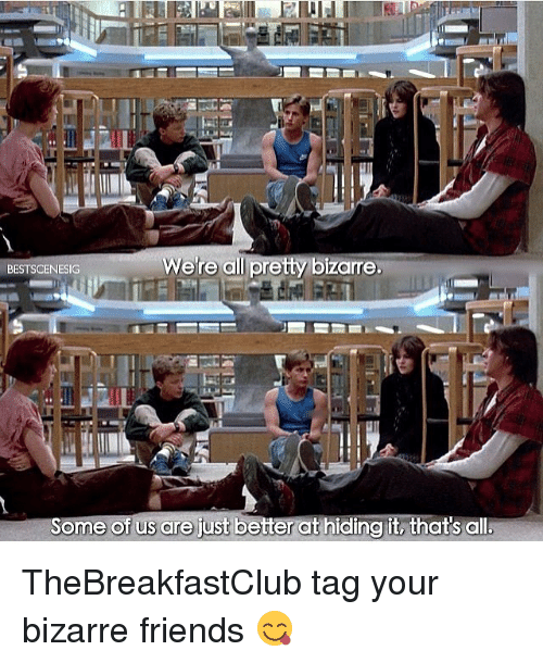 thebreakfastclub: Were all pretty bizarre.  BESTSCENESIG  Some of us are just better ct hiding it, thats all. TheBreakfastClub tag your bizarre friends 😋