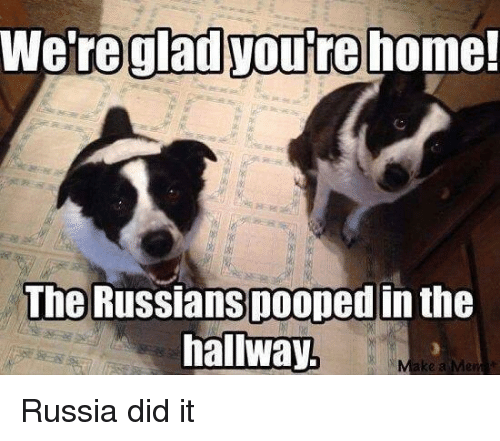 Russia Did It: We're glad youtre home!  gladyoure  The Russianspooped in the  hallway  ke a Me