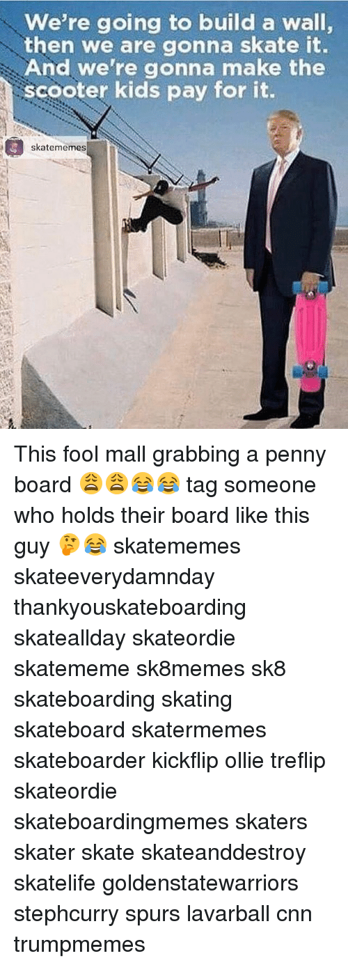 walls: we're going to build a wall,  then we are gonna skate it.  And we're gonna make the  scooter kids pay for it  skatememes This fool mall grabbing a penny board 😩😩😂😂 tag someone who holds their board like this guy 🤔😂 skatememes skateeverydamnday thankyouskateboarding skateallday skateordie skatememe sk8memes sk8 skateboarding skating skateboard skatermemes skateboarder kickflip ollie treflip skateordie skateboardingmemes skaters skater skate skateanddestroy skatelife goldenstatewarriors stephcurry spurs lavarball cnn trumpmemes