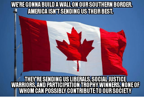 America, Memes, and Best: WERE GONNA BUILDAWALLONOURSOUTHERN BORDER.  AMERICA ISNTSENDINGUSTHEIR BEST  THEY RESENDING USLIBERALS.SOCIALJUSTICE  WARRIORS, AND PARTICIPATIONITROPHYWINNERS, NONE OF  WHOM CAN POSSIBLY CONTRIBUTE TO OUR SOCIETY