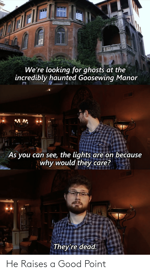 Good Point: We're looking for ghosts at the  incredibly haunted Goosewing Manor  As you can see, the lights are on because  why would they care?  They're dead. He Raises a Good Point