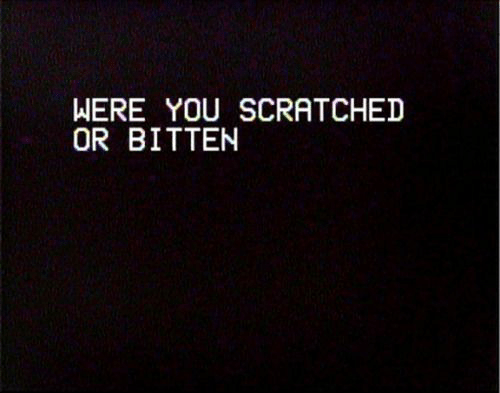 bitten: WERE YOU SCRATCHED  OR BITTEN