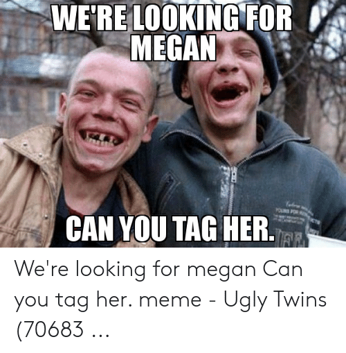 Meme Ugly: WE'RELOOKING FOR  MEGAN  CAN YOU TAG HER.  FF We're looking for megan Can you tag her. meme - Ugly Twins (70683 ...