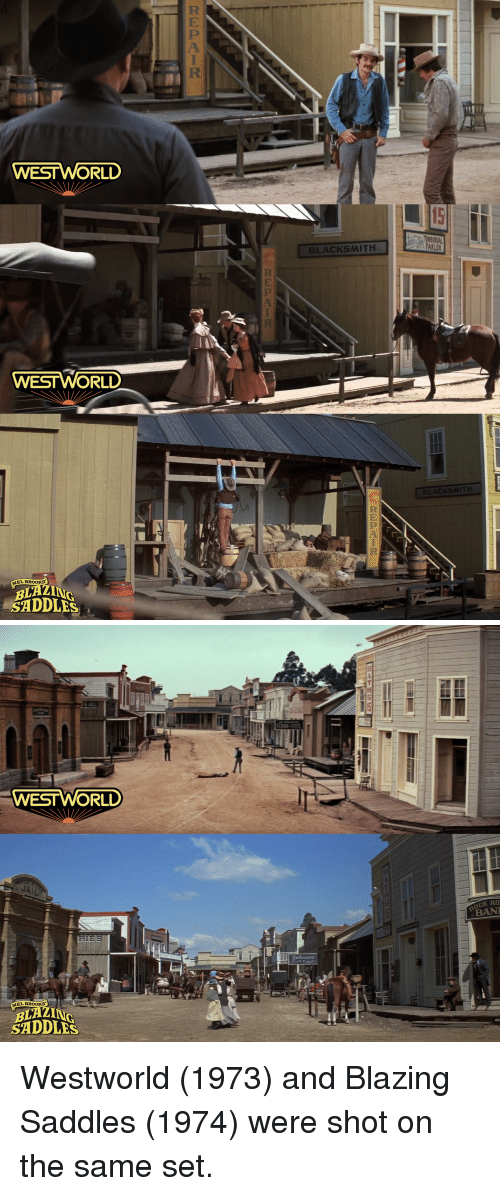 west world: WEST WORLD  BLACKSMITH  ESTWORL  CKSMITH  MEL BROOKS  BLAZ  SADDLES   WESTWORLD  OCK RI  BAN  MEL BROOKS  BLAZ  SADDLES Westworld (1973) and Blazing Saddles (1974) were shot on the same set.