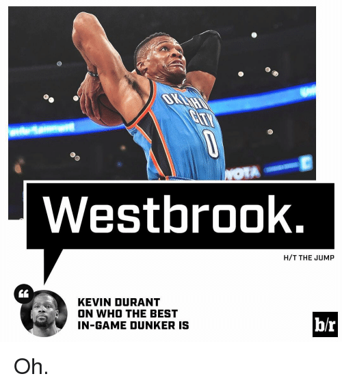 Kevin Durant, Sports, and Best: Westbrook  H/T THE JUMP  KEVIN DURANT  ON WHO THE BEST  b/r  IN-GAME DUNKER IS Oh.