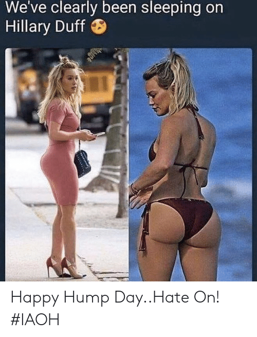 hillary: We've clearly been sleeping on  Hillary Duff Happy Hump Day..Hate On! #IAOH