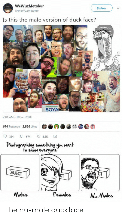 Duck Face: WeWuzMetokur  @WeWuzMetokur  Follow  Is this the male version of duck face?  SOYA  2:01 AM-20 Jan 2018  674 Retweets 2,526 Likes  0234 674 2.5K a  Photographing something you want  to show everjone  OBJECT  Males  FomalesNuMaks  Nu-Males The nu-male duckface