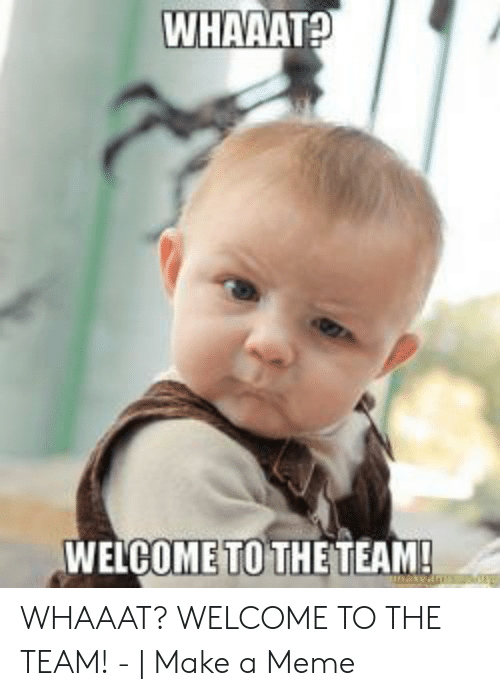 Welcome To The Team Meme: WHAAATA  WELCOME TO THETEAM! WHAAAT? WELCOME TO THE TEAM! - | Make a Meme