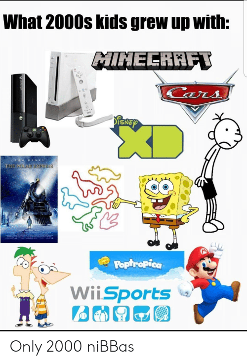 poptropica: What 2000s kids grew up with:  MINECRAFT  Cars  ENEY  TO MHANKS  THE POLAR EXPRESS  Poptropica  WiiSports Only 2000 niBBas