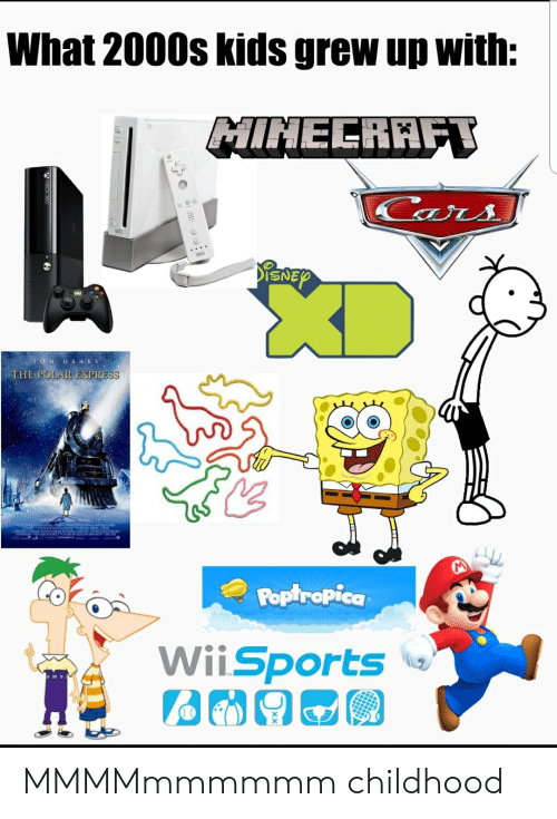 Cars, Polar Express, and Express: What 2000s kids grew up with:  MINELRAFT  Cars  PENEY  OM HANKS  THE POLAR EXPRESS  Poptropica  WiiSports MMMMmmmmmm childhood