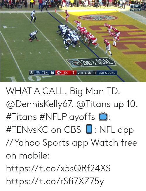 CBS: WHAT A CALL.  Big Man TD. @DennisKelly67. @Titans up 10. #Titans #NFLPlayoffs  📺: #TENvsKC on CBS 📱: NFL app // Yahoo Sports app Watch free on mobile: https://t.co/x5sQRf24XS https://t.co/rSfi7XZ75y