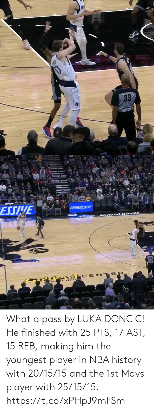 pass: What a pass by LUKA DONCIC!   He finished with 25 PTS, 17 AST, 15 REB, making him the youngest player in NBA history with 20/15/15 and the 1st Mavs player with 25/15/15.    https://t.co/xPHpJ9mFSm