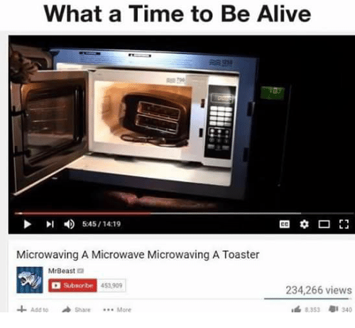 Memes, 🤖, and Microwave: What a Time to Be Alive  5:45/14:19  Microwaving A Microwave Microwaving A Toaster  MrBeast  2  Subscribe 453909  234,266 views  Ass to Share More  8353 340