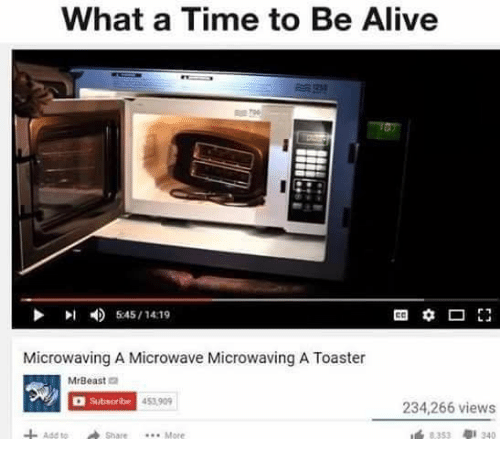 Memes, 🤖, and Microwave: What a Time to Be Alive  545/14:19  Microwaving A Microwave Microwaving A Toaster  MrBeast  Subscribe 453909  234,266 views  ass to Share More