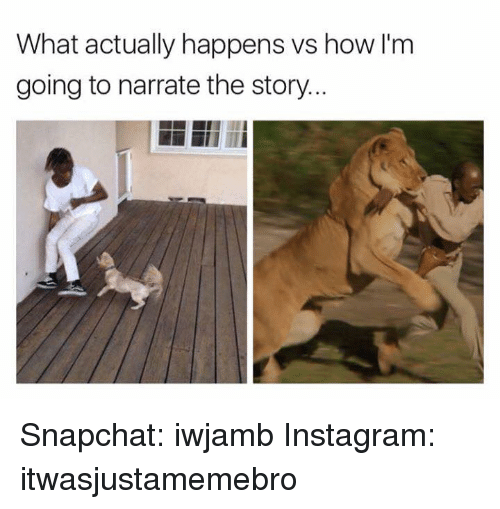 Narrate: What actually happens vs how I'm  going to narrate the story.. Snapchat: iwjamb Instagram: itwasjustamemebro