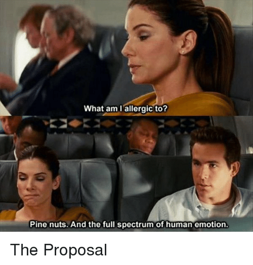 the proposal: What am I allergic to?  Pine nuts. And the full spectrum of human emotion. The Proposal